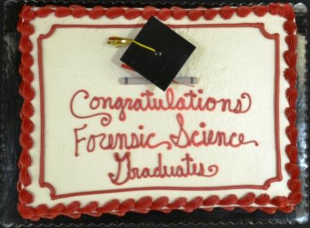 A cake congratulating Forensic Science graduates. Links to larger image.
