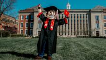 Herbie Husker in graduation cap and gown