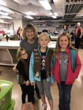 Professor Bauer with girl scouts